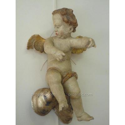Ange En Bois Sculpté, XVIIIème