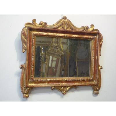 Small Mirror XVIIIth In Gilded Wood