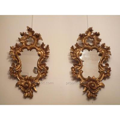 Pair Of Italian Mirrors Carved Wood Late Eighteenth. Old Gilding.