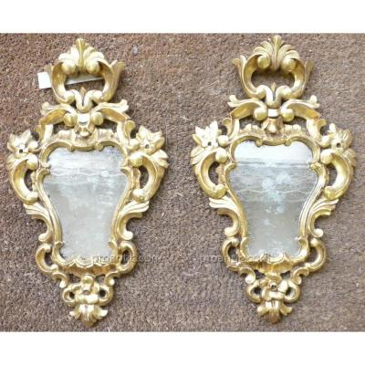Pair Of Italian Mirrors In Golden Wood Nineteenth Time.