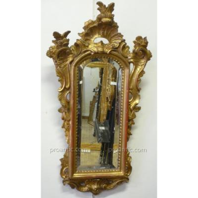 18th Century Mirror Carved Gilded Gold Leaf (beveled Mirror).