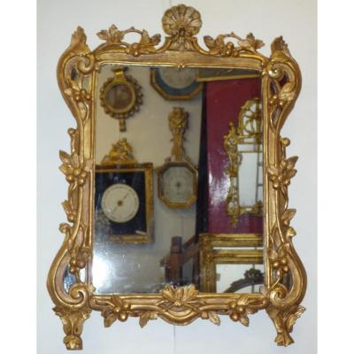 Mirror Louis XV Carved And Gilded With Foliage And Fruit Decoration.