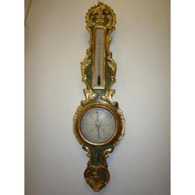Barometer Louis XV Gilded Wood And Painted With Flowers.
