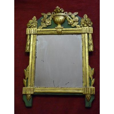 Mirror Louis XVI Carved And Gilded With Flower Urn Decoration