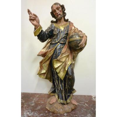 Statue du Christ en bois sculpté polychrome 17e siècle (Tyrol ou Bohême).