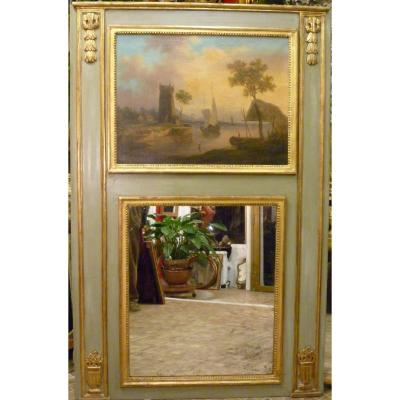Trumeau Late 18th Century With Painting Depicting A Landscape At Sunset.