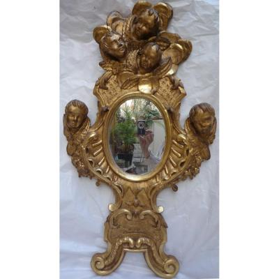 Golden Wood Mirror With Five Angel Heads