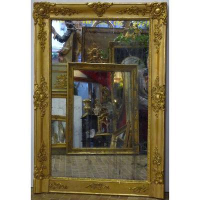 Miroir d'époque Restauration début 19e siècle en bois doré