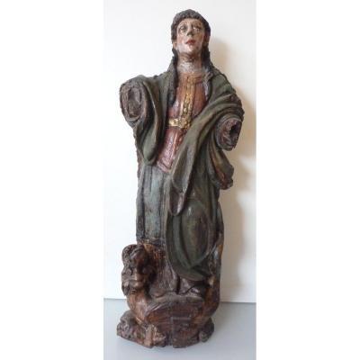 Statue en bois polychrome de Sainte Marthe terrassant le dragon