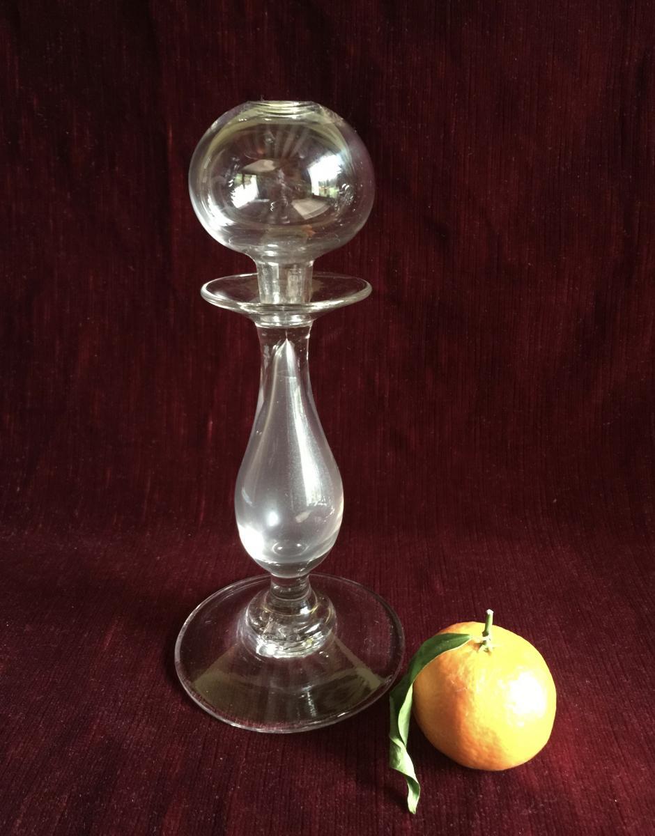 Lampe à Huile Veilleuse en Verre soufflé translucide Verrerie début XIXème