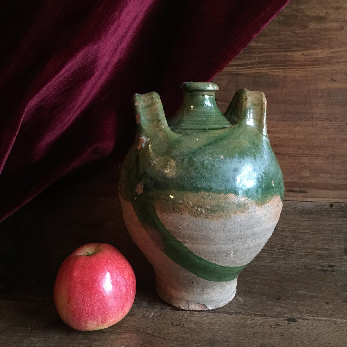 Brissard Jug Carboy Glazed Earthenware Valley Of Eure - French Folk Art Of Normandy XIXth
