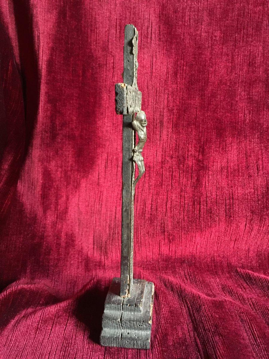 Christ Crucifix de Colporteur aux Instruments de la Passion - Bois Peint et Etain début 19ème