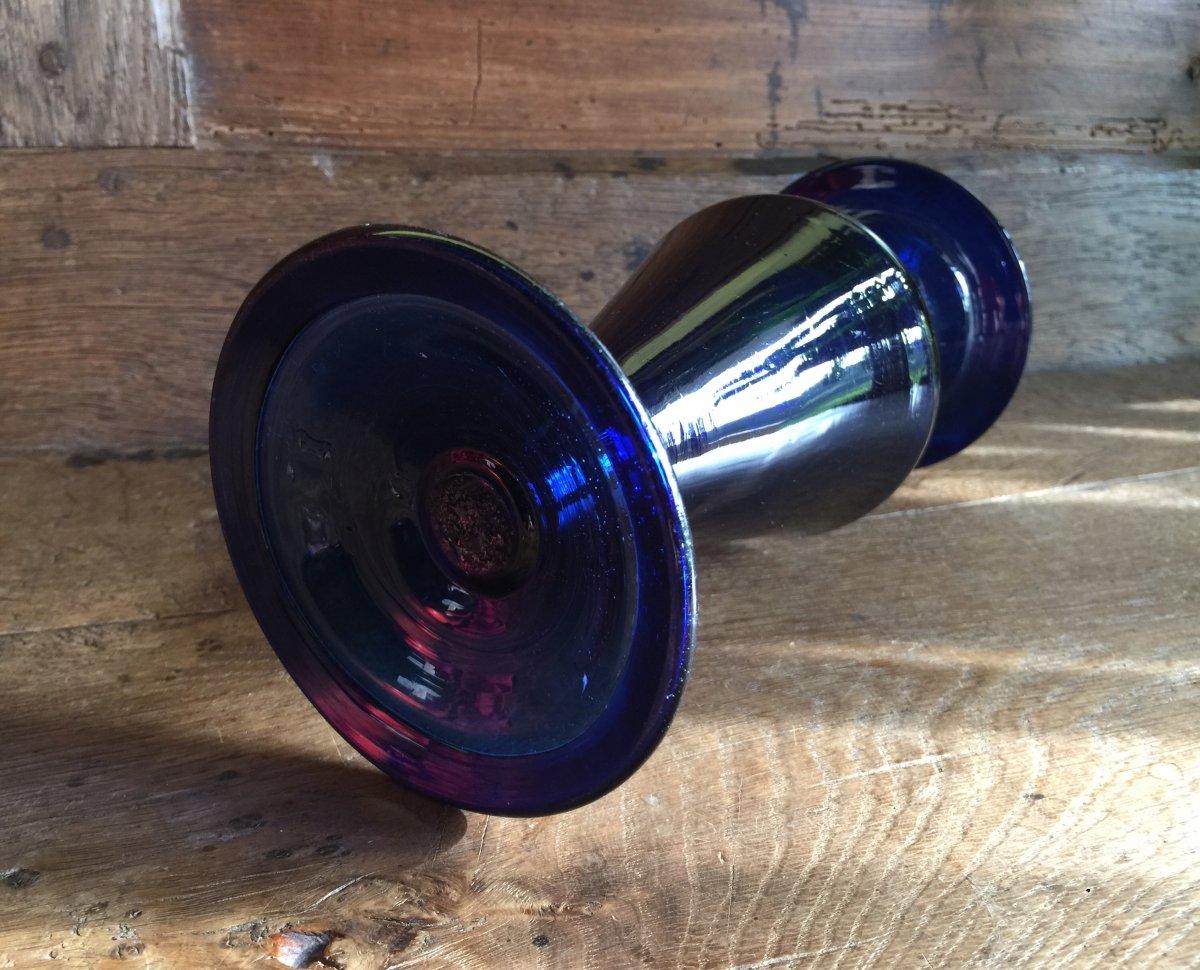 Vase Bleu Verrerie de Bordeaux  XVIIIème Verre Soufflé avec Pontil -photo-1