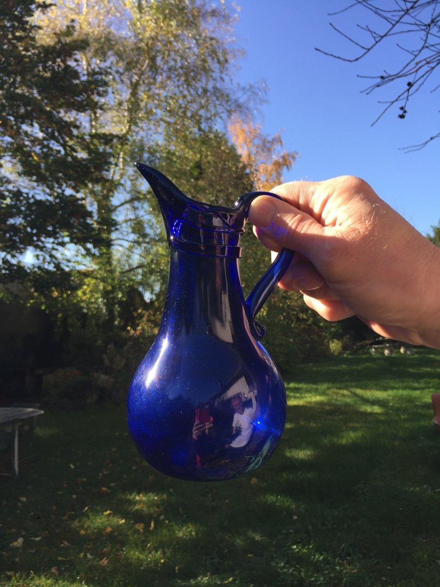 Pichet Normand en Verre Soufflé Bleu - Verrerie de Normandie XVIIIème Art Populaire