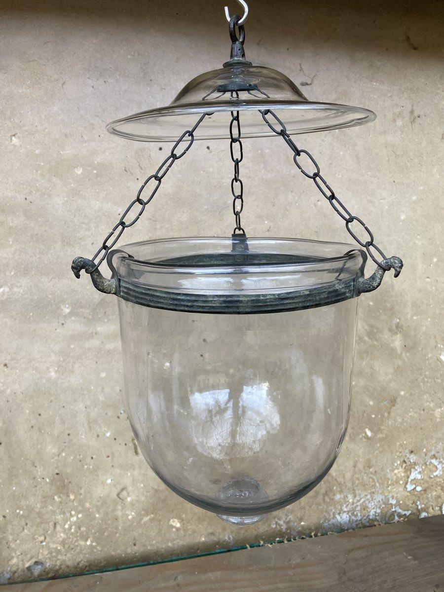 Lanterne et son Fumivore en Verre Soufflé Translucide - Chaines et Fixation en laiton aspect bronze - Verrerie début XIXème-photo-3