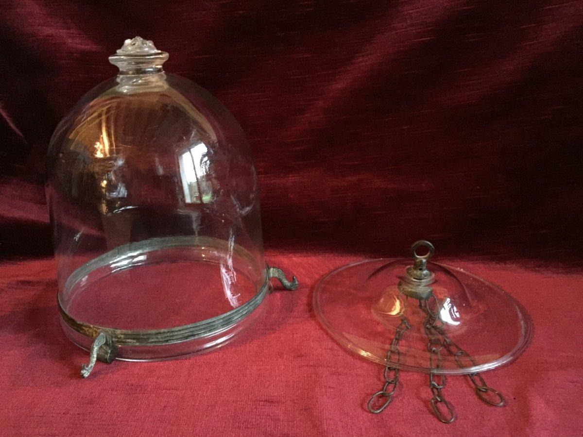 Lanterne et son Fumivore en Verre Soufflé Translucide - Chaines et Fixation en laiton aspect bronze - Verrerie début XIXème-photo-5