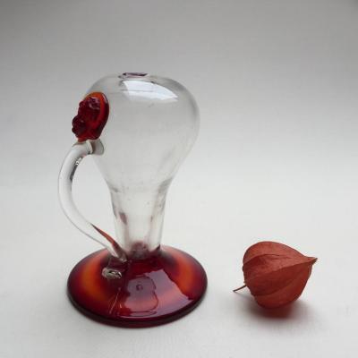 Veilleuse Lampe à Huile en Verre Soufflé Translucide et Rouge - Verrerie début XIXème Italie?