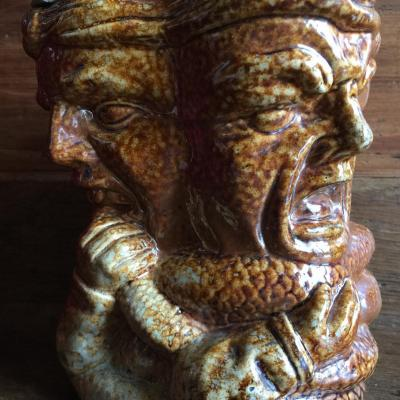 Pot à Tabac Anthropomorphe en Grès du Beauvaisis XIXème - Veuve Signez? - Art Populaire