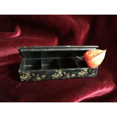 "Napoleon III Stamp Box In ""paper Maché"" Painted With Japanese Apple Blossoms"