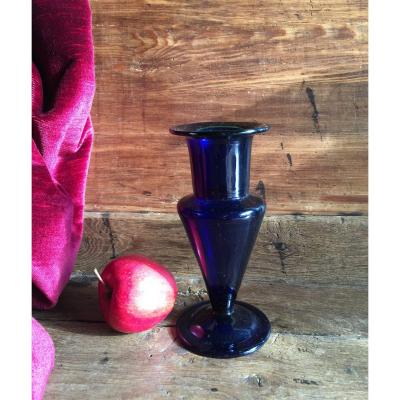 Blue Vase Glassware From Bordeaux XVIIIth Blown Glass With Pontil