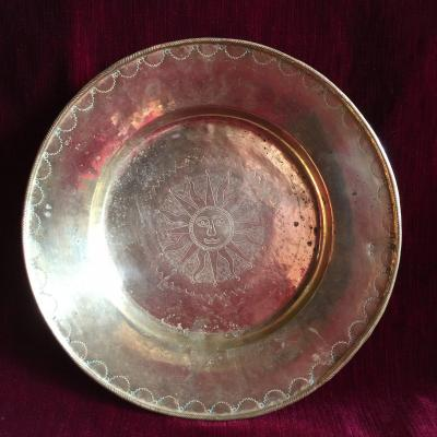 Offering Dish Quest Plate In Brass Engraved With A Radiant Guilloche Sun - XVIIIth -  With Brands Marks