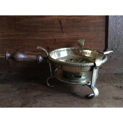 Copper Brass Bronze Table Warmer - With Crowned Punch (late 17th-early 18th)