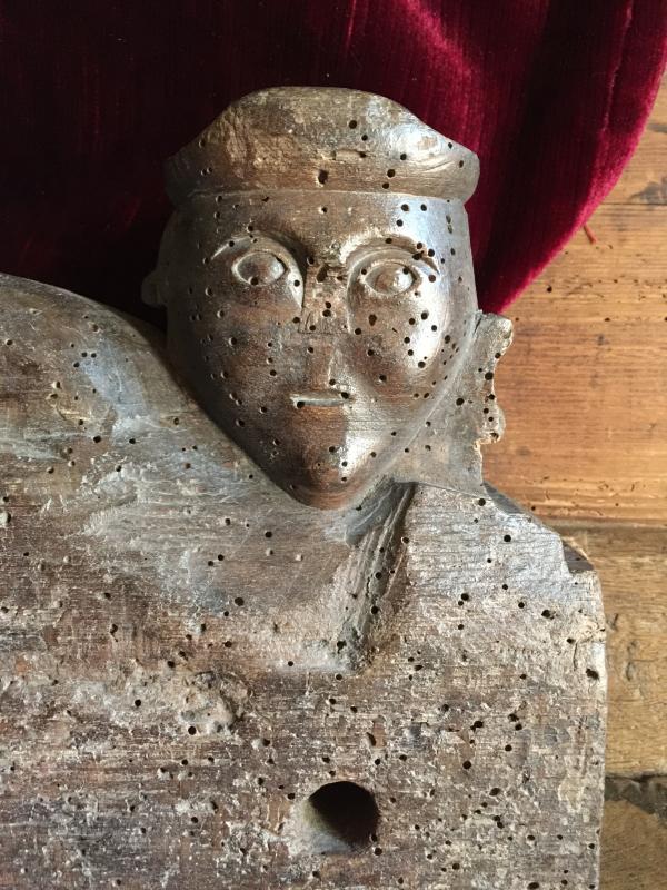 Clef de Foudre Clé en bois sculpté Entrée de Tonneau Alsace fin XVIIIème Art Populaire Vin-photo-3