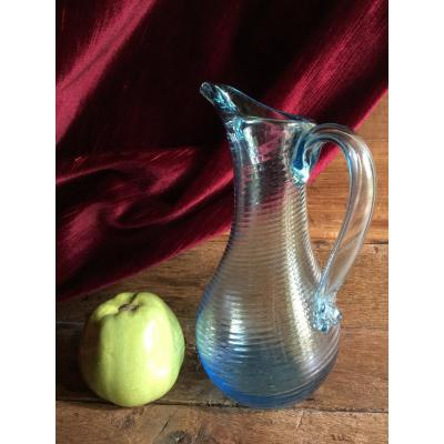 Carafe Pitcher Normand Blown Glass Blue Glassware Normandy Late Eighteenth Early Nineteenth Folk Art