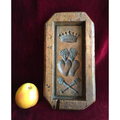Gingerbread Mold (or Speculoos) In Chestnut Wood - Cake Mold - XVIIIth Folk Art