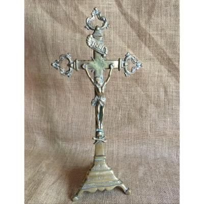 Crucifix Tripode avec Crâne Vanité - Christ sur Croix à décor Fleurdelisé Flamboyant  - Objet Religieux XVIIIème