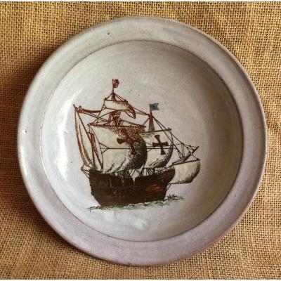 Platon Earthenware Plate - Ceramics From Old Montmartre And Belle Ile En Mer - Ship Boat Vessel