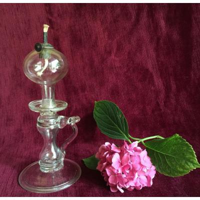 Lampe à Huile en Verre Soufflé fin XVIIIème - Complète avec Porte-mèche en Tôle de Fer