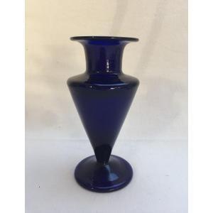 Vase Bleu Verrerie de Bordeaux  XVIIIème Verre Soufflé avec Pontil - Parfait état