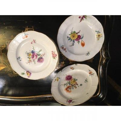 Meissen Porcelain Plates 18 Eme / 13 Pieces