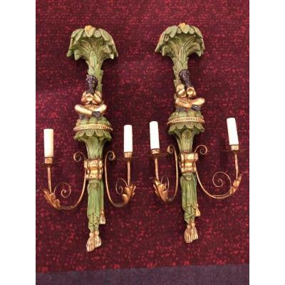 Pair Of Wall Lights Italy Year 50 In Polychrome Wood / Gold