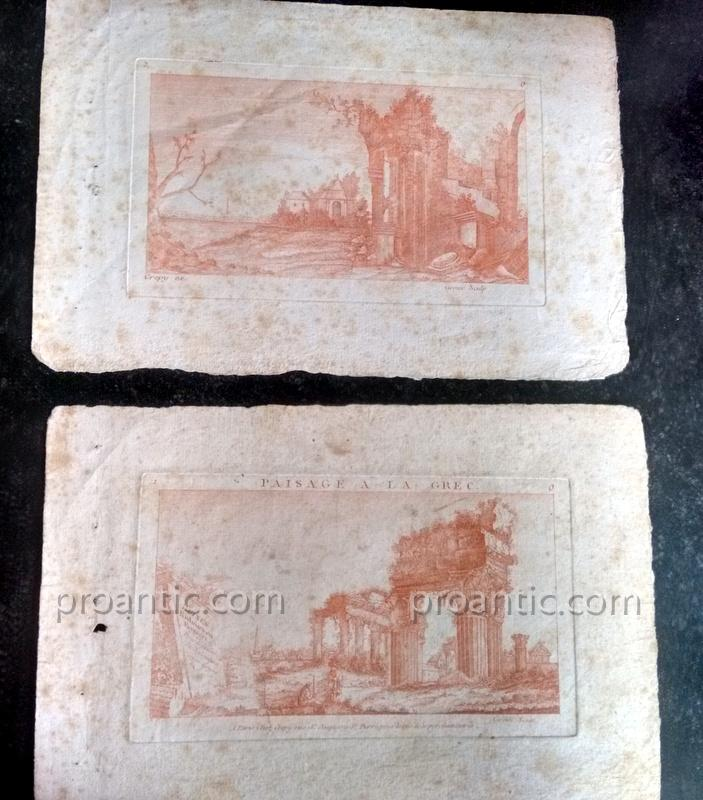 Suites Of Two Engravings Etching At The Sanguine Ancient Ruins Crepy In Paris Eighteenth Century 1