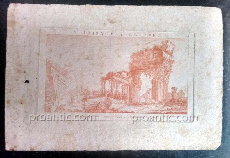 Suites Of Two Engravings Etching At The Sanguine Ancient Ruins Crepy In Paris Eighteenth Century 1-photo-2