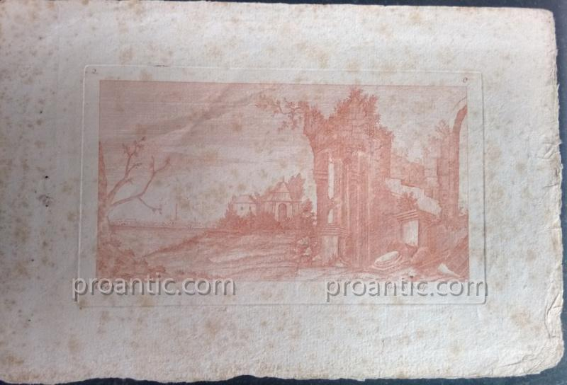 Suites Of Two Engravings Etching At The Sanguine Ancient Ruins Crepy In Paris Eighteenth Century 1-photo-4