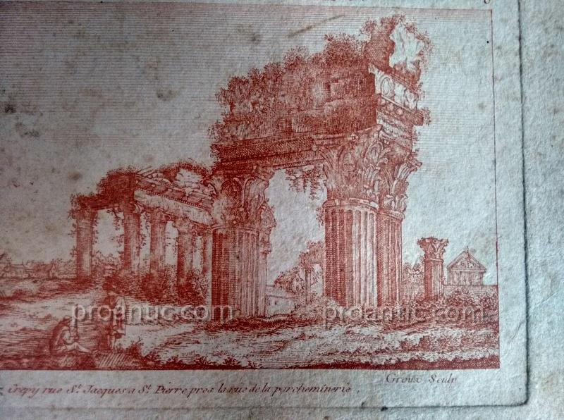 Suites Of Two Engravings Etching At The Sanguine Ancient Ruins Crepy In Paris Eighteenth Century 1-photo-3
