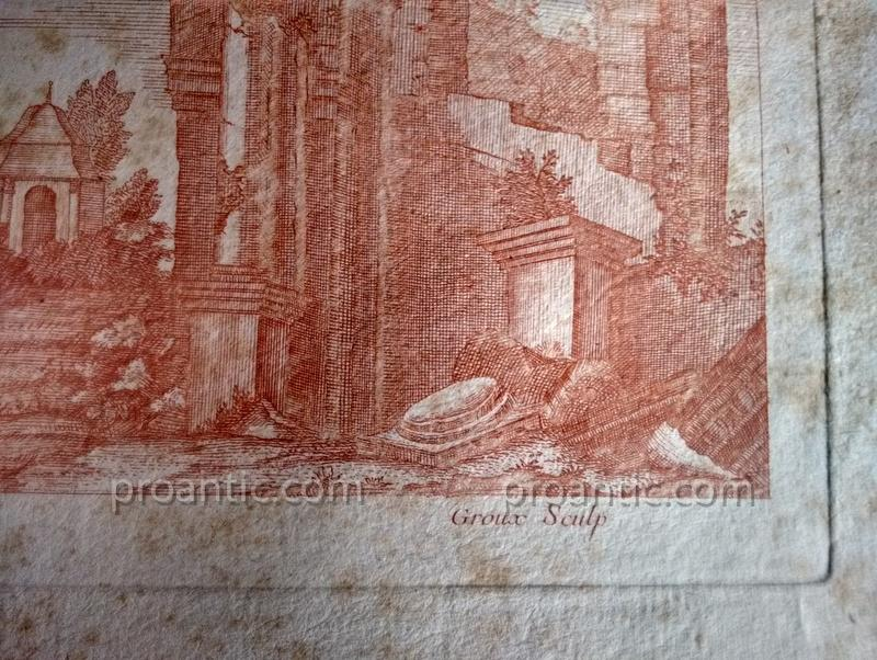 Suites Of Two Engravings Etching At The Sanguine Ancient Ruins Crepy In Paris Eighteenth Century 1-photo-6