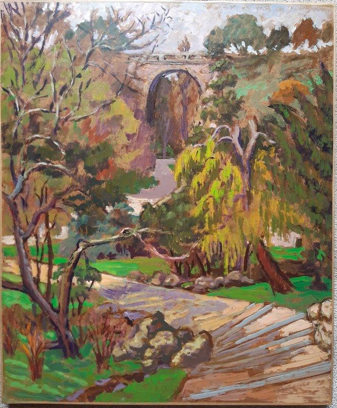 Marco Behar (né En 1898) Huile Sur Isorel Paris Le Parc Des Buttes Chaumont