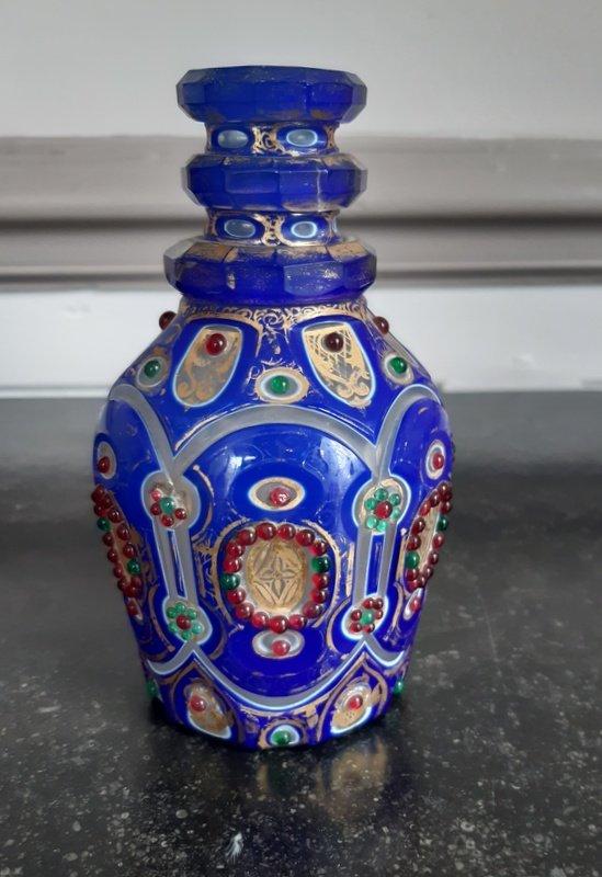 Flacon En Opaline Overlay Verre Taillé Et Doré Empire Ottoman Ou Bohême