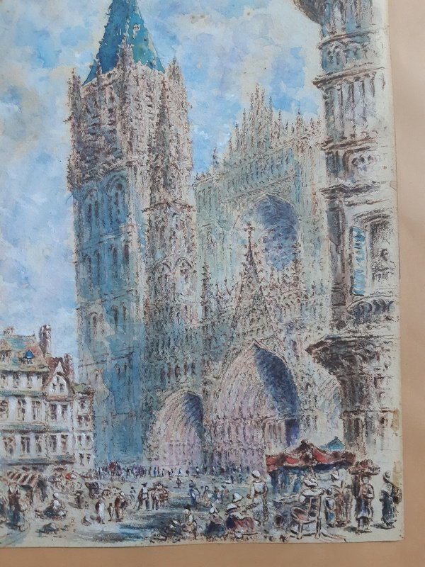 Rouen Cathedral And Its Square Animated Drawing In Watercolor And Gouache-photo-1