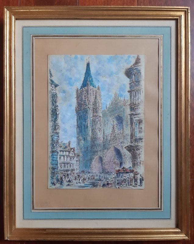 Rouen Cathedral And Its Square Animated Drawing In Watercolor And Gouache