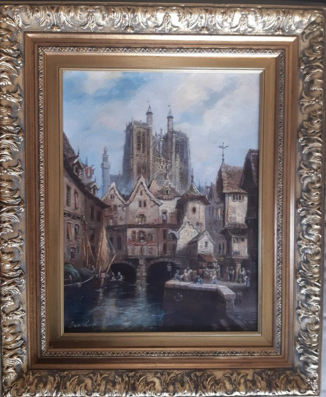 Oil On Canvas Painting View Of A Lively Medieval Town Market Stall And 19th Century Cathedral
