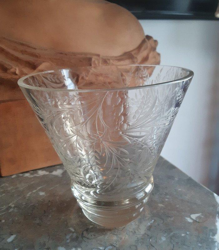 Vase Signé Robert Gravé à La Roue Et Titré Art Déco Vers 1930