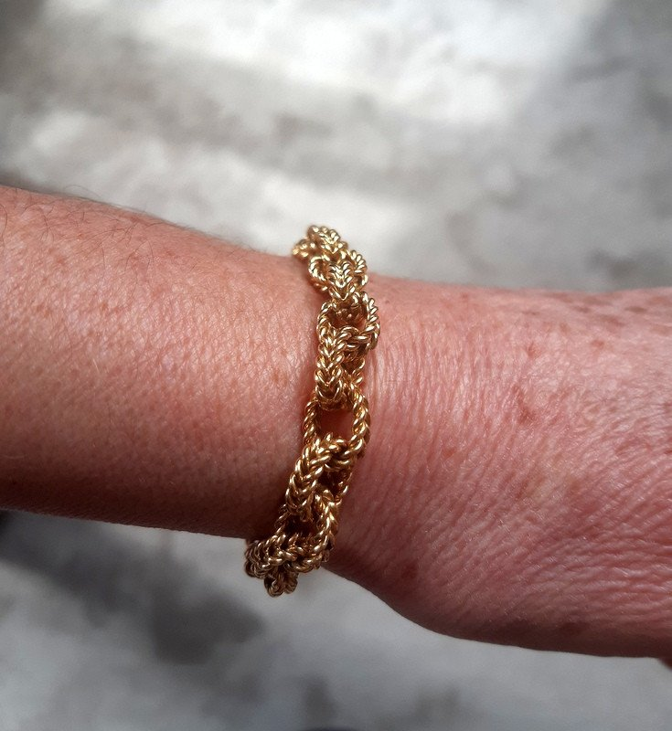 Antique Forçat Curb Chain Bracelet In Yellow Gold Weight 40, 13 G-photo-3