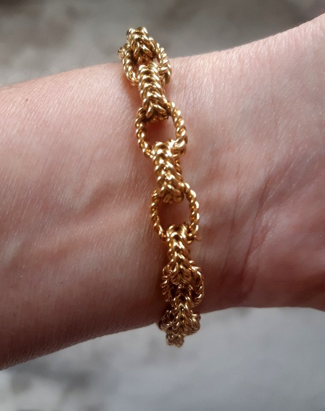 Antique Forçat Curb Chain Bracelet In Yellow Gold Weight 40, 13 G-photo-4