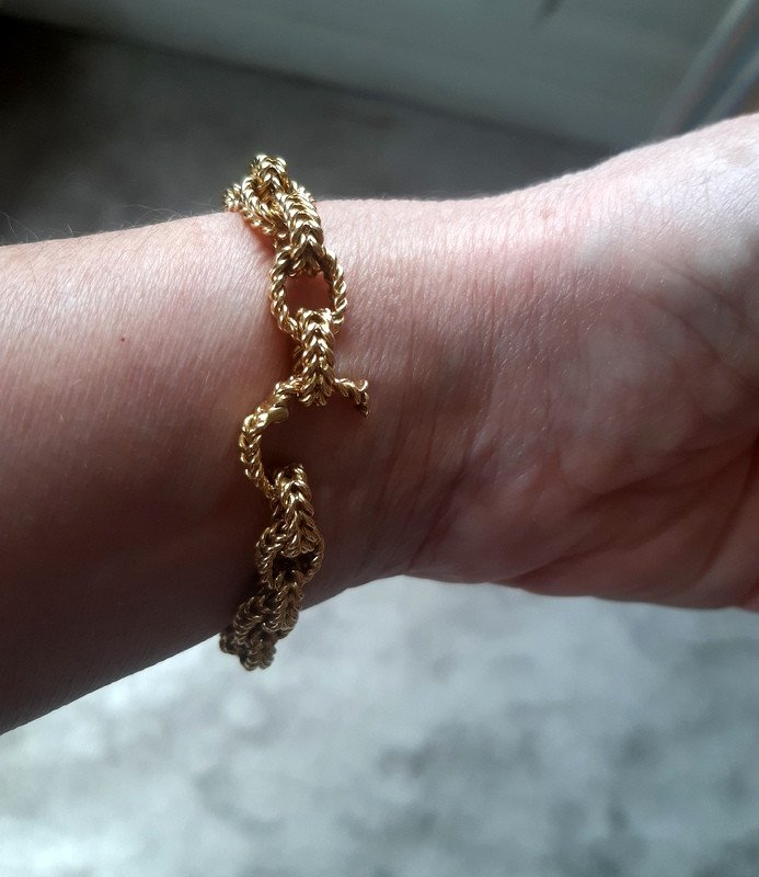 Antique Forçat Curb Chain Bracelet In Yellow Gold Weight 40, 13 G-photo-1