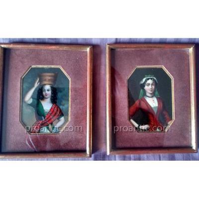 Portrait De Jeunes Femmes Miniature Italie XIXème Siècle